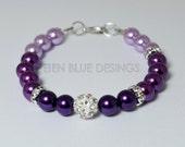 Purple Pearl Bracelet, Ombre Pearl Bracelet, Plum Pearl Bracelet, Pearl Bracelet, Pearl and Rhinestone Bracelet, Purple Wedding Jewelry