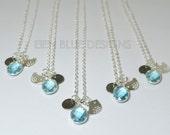 Bridesmaid Personalized Necklace, Aquamarine Crystal Necklace, Bird Necklace, Crystal Necklace, Personalized Necklace, Flower Girl Necklace