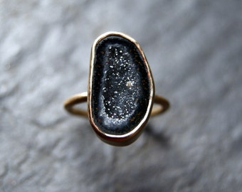 Geode Druzy Ring in Solid 14K Yellow Gold - CUSTOM MADE