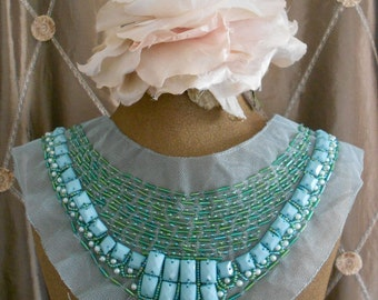 Teal Stone Beaded Applique