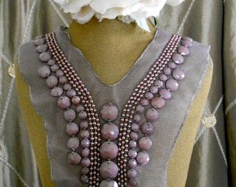 Purple Stone Pearl Beaded Appliques