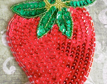 Sequined Strawberry Appliques