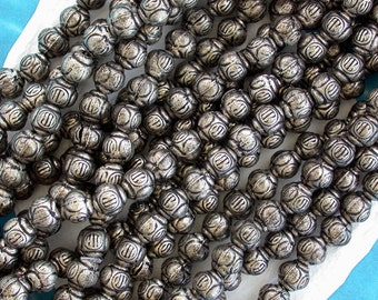 Sale Beads, Closeout Beads, Destash Beads, 1 Strand ~ 47 Antique Silver Rustic Ethnic Hollow Hand Crafted Metal Beads  DS-MB-077