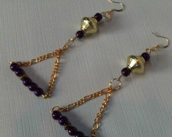 Gold Chain & Deep Purple  Earrings, Pearlized Purple Beaded Earrings, Trapeze Chain Earrings, Purple Trapeze Chain Earrings, Earrings Sale