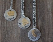 Pick a State Home is Where the Heart is Necklace / Home Sweet Home / Antiqued Brass State Charm & Aluminum Disc