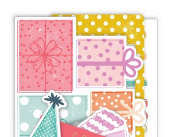 Pink Paislee Birthday Bash Ephemera Pack  -- MSRP 5.00