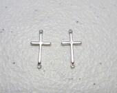 Cross Connector Silver 9.4x18.7mm - Cross aCharm - Cross Sideways Charm - Silver Cross Link