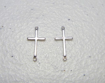 5 pcs Sterling Silver Sideways Slim Cross Link Pendant Charm Connector 9.4x18.7mm