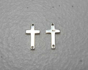 5 pcs Sterling Silver Sideways Cross Connector Link Pendant Charm 12x6mm