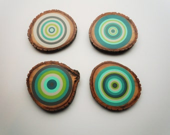 Wood Slice Coasters, Painted Tree Ring, Coasters, Table Decor, Holiday Table, Gift Idea, Party Table, Christmas Gift