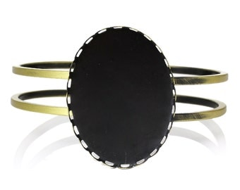 """1 Bangle Bracelet - Antique Bronze - Open - Fits 40x30mm Cabochons -20cm or 7 7/8""""  Long - Ships IMMEDIATELY from California - A491"""