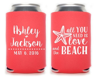 Custom Wedding Favor - All You Need is Love and the Beach Can Coolers
