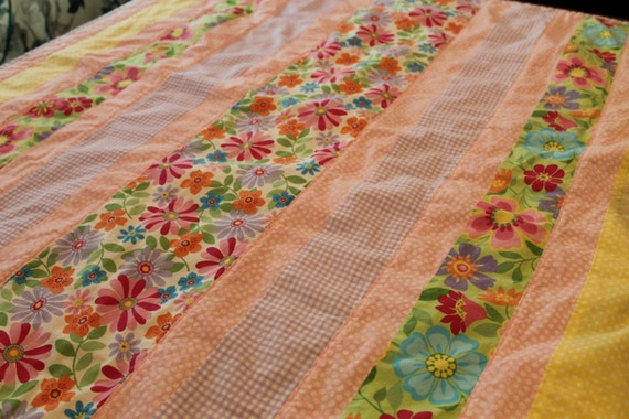 Handmade Baby Girl Quilt Pink, Purple, Yellow, Blue, Green, and White, Flowers Baby quilt, Floral,Toddler, nursery, modern baby