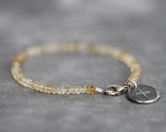 Citrine Bracelet, 3mm, Dainty, Delicate, Shaded, Umbre, Sterling Silver Charm, Cross Charm, Silver Cross, Gemstone Bracelet, Beaded Bracelet