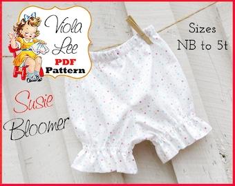 Susie, Baby Ruffle Bloomer Pattern pdf, Girls Ruffle Pants Pattern, Baby Bloomer Sewing Pattern. Baby Pants Pattern, Infant Pants Pattern