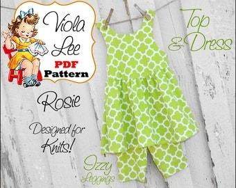 Toddler Dress Pattern. Girl's Dress Pattern, pdf Sewing Pattern. Knit Sewing Pattern. Girl's Top, Toddler Top. Toddler Jumper Pattern. Rosie
