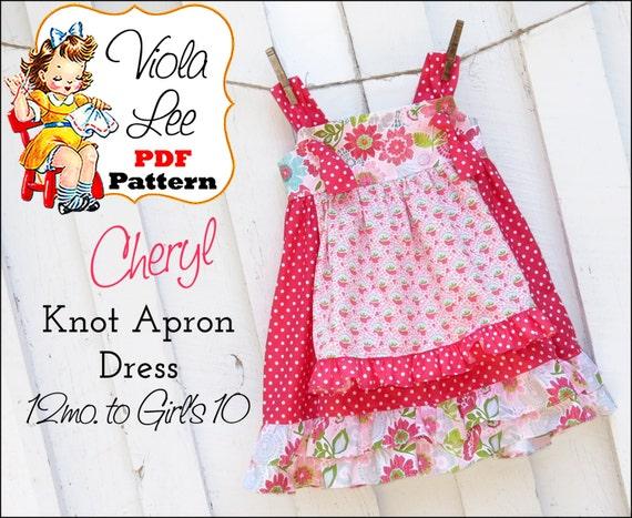 Cheryl... Girl's Ruffle Apron Knot Dress Pattern. Girls Dresses. Toddler Dress Pattern. Toddler Girl's Sewing Pattern. pdf Sewing Pattern.