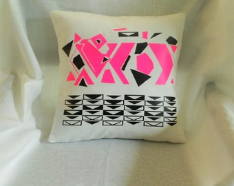 Neon Pink Black and White Abstract Pillow