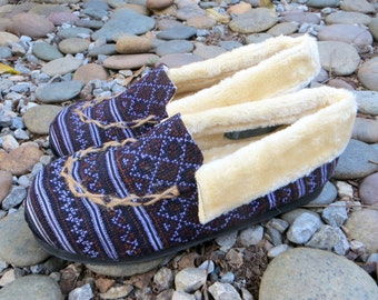 Vegan Men's Slippers With Soles In Earthy Hmong Embroidery Tribal Mocassin Style House Shoe With Cozy Plush Lining - Riley