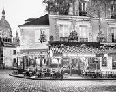Paris Cafe Photograph, Place du Tertre at Christmas, Black and White Photo, Paris Art Print, Large Wall Art, French Decor, Travel Photograph