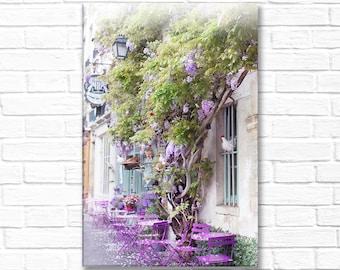 Paris Photography on Canvas - Au Vieux Paris, Gallery Wrapped Canvas, Large Wall Art, Black and White, Architectural Home Decor