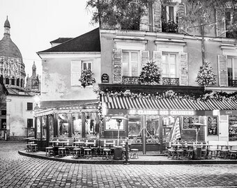 Paris Cafe Photograph, Place du Tertre at Christmas, Black and White Photo, Paris Art Print, Large Wall Art, French Decor, Travel Photograph