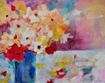 """Vibrant Abstract Floral Painting, Original Loose Brushstrokes, Flowers, """"Bouquet and Petals"""" 12x16"""""""
