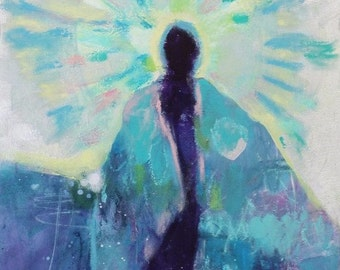 "Small Abstract Figure Painting, Colorful Original Angel, Blue Acrylic, ""The Feathered Cloak"" 8x10"""