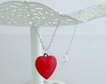 SALE Vintage Red Enamel Heart Charm Necklace