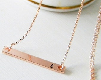 SALE Rose Gold Skinny Bar Initial Necklace