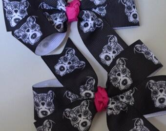 Cutest Set of Sugar Skull Pitbull Barrettes Halloween