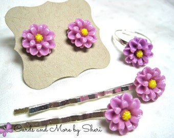 Lavendar Flower Ring, Earrings and Bobby Pin Set - Flower Girl Jewelry - Little Girl Gifts - Gifts for Girls