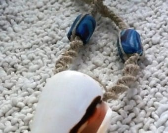 Shell & Hemp necklace with beachy blue and purple handmade clay beads, beach necklace, surfer necklace, hippie necklace