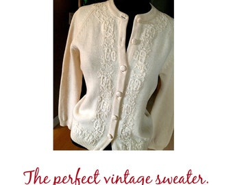 "Mid Century Crewel Work Sweater 36-40"" Bust"