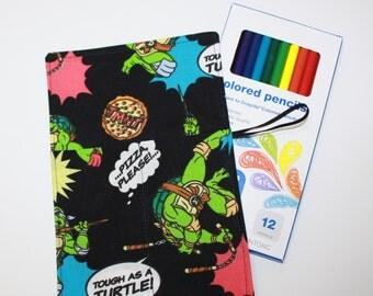 Pencil Roll & BONUS 12 Colored Pencils, Ninja Turtles fabric holds Colored Pencils, Markers, Sharpies, Twistables, Pencil Case Organizer