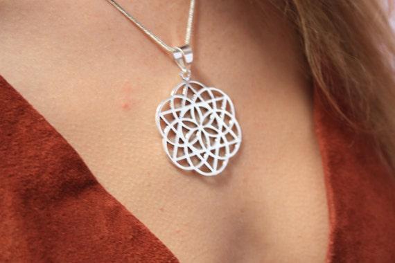 STATEMENT MANDALA NECKLACE -Sacred Geometry -Mandala -Spiritual Jewelry -Seed of life Necklace -Silver Jewellery- Tribal -Gypsy -Meditation