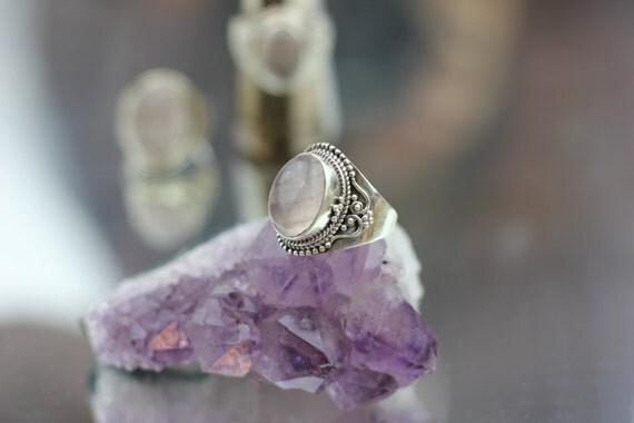 ROSE QUARTZ RING - Sterling Silver Ring- Crystal Ring- Healing Crystal Jewellery-Love - Statement Ring- Boho- Vintage ring- Chakra