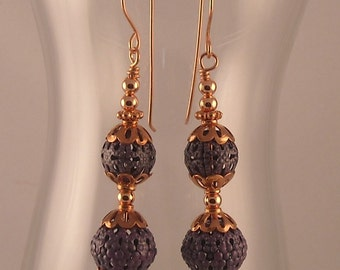 Beaded Dangle Earrings with Copper Bead Caps Copper Spacers Handmade Copper Earwires