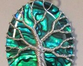 Fine Silver Blue Green Paua Shell Tree of Life, Fine Silver and Ocean Blue Paua Shell Tree of Life Necklace
