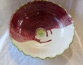 Ceramic Bowl, Pottery Bowl, Ceramic Serving Bowl, Wheel thrown ceramic bowl by rika blue, Red/White pottery bowl