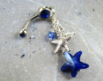 Starfish Belly Button Ring, Silver and Blue Long Dangle Belly Button Jewelry Sea Star Beach Belly Ring, Bellybutton Ring, Navel Piercing