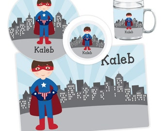 Superhero Boy Plate, Bowl, Mug or Placemat - Personalized Plate for Kids - Custom Kids Melamine Tableware - Kids Plate Bowl Set