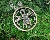 White Rabbit Pocket Watch Necklace in Antique Bronze