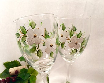 Dogwood blossoms hand painted on wine glasses set of two