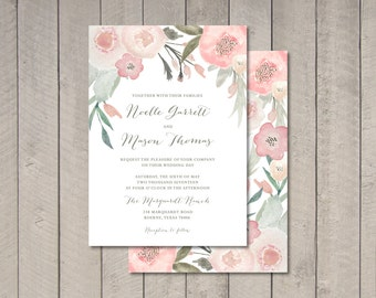 Blush Floral Wedding Invitation (Printable) DIY by Vintage Sweet