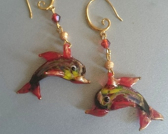 Gold fish bead earrings.Murano glass.Art glass. Drop earrings.Gift for her.