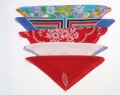 Handkerchief (5) Vintage Red Blue White Hankerchiefs Pastel Floral Stripe Op Art Hankies 1960s 1970s H Monogram Pocket Square Crochet Edges