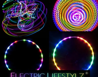 Seamless Connection - Confusion - 2 Circuit LED Hula Hoop - Cotton Candy Rainbow and Fusion Hoops - 2 in 1