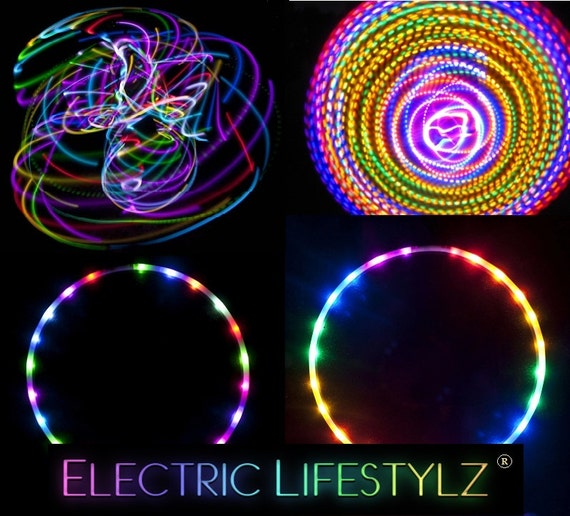 SALE price- Free Shipping - Confusion - 2 Circuit LED Hula Hoop - Cotton Candy Rainbow and Fusion Hoops - 2 in 1