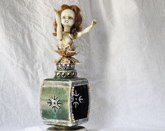 Vintage doll assemblage art  doll altered art hand painted doll